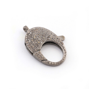 1 PC Pave Diamond Lobster Clasp Antique Finish over Sterling Silver - 36mmx21mm LB027