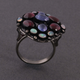 1 PC Beautiful Pave Diamond Ethiopian Opal & Pink Tourmaline Ring Center In Tanzanite - 925 Sterling Silver -Gemstone Ring Size -9.5 RD154