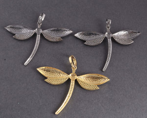 1 PC Genuine Pave Diamond Dragon Fly Pendant -Two Tone Pendant- Fly Necklace Pendant 39mmx56mm PD1238