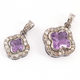 1 PC Genuine Pave Diamond With Amethyst Pendant - Clover Necklace Pendant 16mm-21mm PD1459