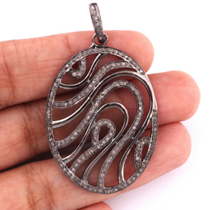 1 Pc Antique Finish Pave Diamond Designer Oval Pendant - 925 Sterling Silver -Diamond Pendant 43mmx30mm PD1478