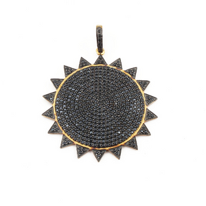 1 Pc Black Spinel Beautiful Sun Pendant - 925 Sterling Silver- Vermeil -Round Sun Pendant 46mmX43mm PD275