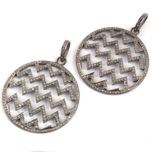 1 Pc Pave Diamond Round Designer Zig Zag Pendant -925 Sterling Silver -Necklace Pendant 40mmx35mm PD1366