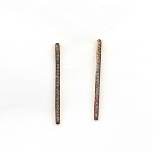 1 Pair Extremely Beautiful Pave Diamond Bar Earrings - 925 Sterling Vermeil Bar Earrings 35mmx2mm ED018