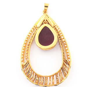 1 Pc Pave Diamond With Ruby Pear Shape Pendant Over 925 Sterling Vermeil 52mmx30mm PD1469