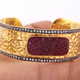1 Pc White Topaz Carved Ruby Hammered Cuff Bracelet - 925 Sterling Vermeil - Adjustable Bracelet Size: 2.25 BD129