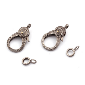 1 Pc Pave Diamond Lobster Clasp Oxidized Sterling Silver - Diamond On Both Sides 32mmx17mm LB008