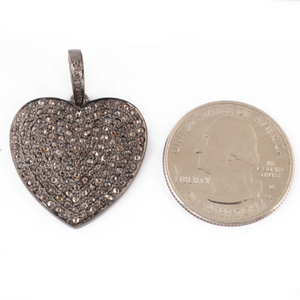 1 PC Genuine Pave Diamond Heart Pendant - 925 Sterling Silver -Beautiful Love Pendant 26mmx25mm PD1070