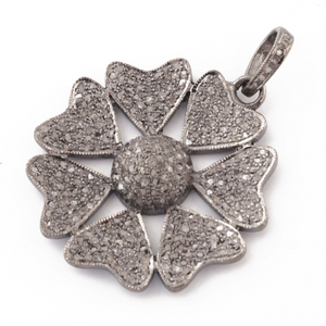 1 Pc Antique Finish Pave Diamond Heart Fower Pendant - 925 Sterling Silver- Necklace Pendant 37mmx34mm PD1528