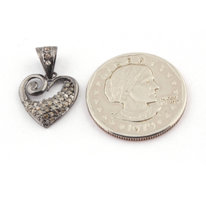 1 Pc Genuine Pave Diamond Heart Shape Pendant -925 Sterling Silver Single Bail Pendant 17mmx16mm PD738