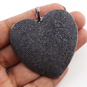 1 PC Genuine Blue Sapphire Heart Pendant -925 Sterling Silver - Love Pendant 48mmx51mm PD1129