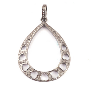1 Pc Pave Diamond Pear Shape Designer Pendant -925 Sterling Silver -Necklace Pendant 43mmx32mm PD1427