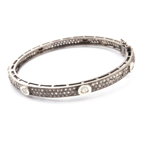 1 Pc Excellent Designer Pave Diamond With Rosecut Diamond 925 Sterling Silver - Bangle with Lock - Polki Bangle Size : 2.375 BD021