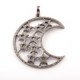 1 Pc Antique Finish Pave Diamond Crescent Moon With Star Pendant - 925 Sterling Silver - Necklace Pendant 50mmx24mm PD108