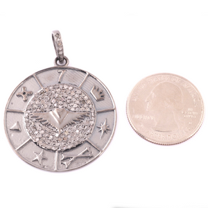1 Pc Antique Finish Pave Diamond Designer Round Pendant -925 Sterling Silver -Necklace Pendant 39mmx35mm PD1533