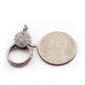 1 PC Pave Diamond Lobster Clasp Antique Finish Over Sterling Silver - Diamonds On Both Side 29mmx17mm LB157