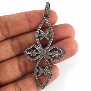 1 Pc Antique Finish Pave Diamond Designer Cross Pendant - 925 Sterling Silver- Necklace Pendant 56mmx33mm PD1331