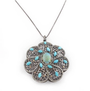 1 Pc Pave Diamond Turquoise Pendant Center In Opal - 925 Sterling Silver- Necklace Pendant 52mmx48mm PD415