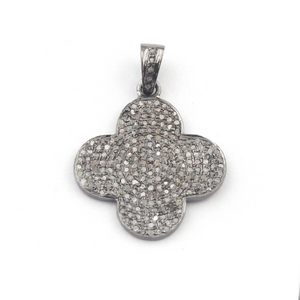 1 Pc Pave Diamond Clover Pendant Over 925 Sterling Silver & Vermeil - Clover Pendant 25mmx21mm PD728