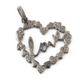 1 Pc Antique Finish Pave Diamond Heart Pendant - 925 Sterling Silver- Love Necklace Pendant 37mmx35mm PD1490