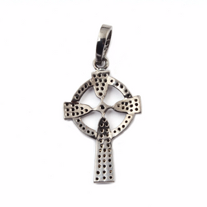 1 Pc Roman Cross With Round Disc 925 sterling Silver Pendant - Black spinel Cross Round Pendant 34mmx20mm pt092
