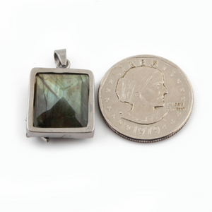 1 Pc Pave Diamond Labradorite Square Pendant Over 925 Sterling Silver - Gemstone Pendant 24mmx18mm PD171