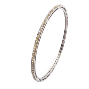 1 Pc Yellow Sapphire Bangle -925 Sterling Silver - Designer Bangle BD252