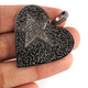 1 Pc Antique Finish Pave Diamond Designer Heart With Star Pendant - 925 Sterling Silver- Love Necklace Pendant 35mmx38mm PD1341