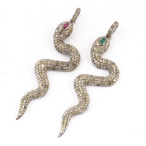 1 Pc Pave Diamond With Ruby & Emerald Snake Charm Pendant - 925 Sterling Silver - Necklace Pendant PD1422