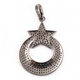 1 Pc Antique Finish Pave Diamond Round With Star Designer Pendant -925 Sterling Silver -Necklace Pendant 40mmx27mm PD1549