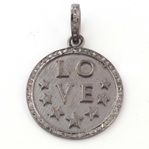 1 Pc Antique Finish Pave Diamond Round With Love Pendant - 925 Sterling Silver- Star Necklace Pendant 30mmx25mm PD1535