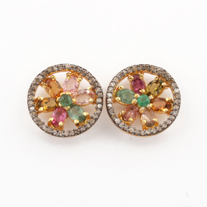 1 Pair Pave Diamond Beautiful Multi Tourmaline Round Stud Earrings - 925 Sterling Vermeil Studs With Back Stoppers 15mm ED060