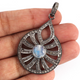 1 Pc Antique Finish Pave Diamond With Moonstone Designer Fancy Pendant - 925 Sterling Silver- Necklace Pendant 45mmx32mm PD1373