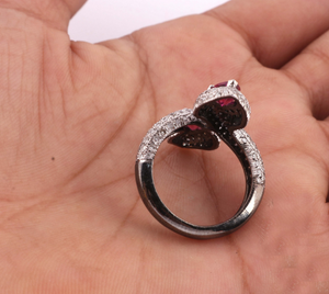 1 PC Beautiful Designer Pave Diamond with Pink Tourmaline Snake Ring - 925 Sterling Silver -Designer Ring Size :8 RD401