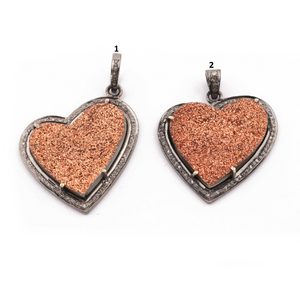 1 PC Pave Diamond Copper Druzy Pendant -925 Sterling Silver - Heart Shape Druzzy Pendant PD214