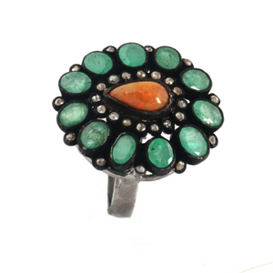 9gm 1 PC Beautiful Pave Diamond Emerald Ring Center In Opal- 925 Sterling Silver - Gemstone Ring Size -7.25 RD187