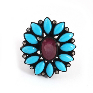 11gm 1 PC Beautiful Pave Diamond Turquoise Ring Center In Ruby - 925 Sterling Silver - Gemstone Ring Size -7.25 RD159