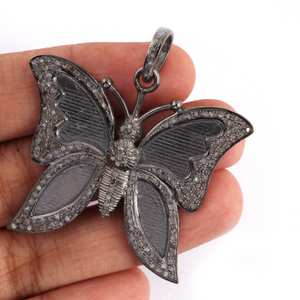 1 Pc Antique Finish Pave Diamond Butterfly Pendant - 925 Sterling Silver -Diamond Pendant 39mmx45mm PD1327