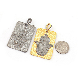 1 Pc Pave Diamond Hamsa 925 Sterling Silver & Vermeil - Diamond Rectangle Pendant 40mmx26mm PD765