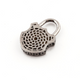 1 PC Genuine Pave Diamond Lock Charm With Cross 925 Sterling Silver Pendant 34mmx22mm PD301