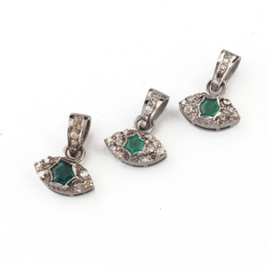 1 PC Genuine Pave Diamond With Emerald Eye Pendant - Necklace Pendant 9mmx11mm PD1474