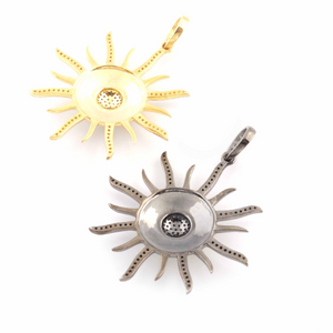 1 Pc Beautiful Pave Diamond Sunburst Pendant- 925 Sterling Silver -Vermeil - Cream Bakelite Designer Sun Pendant 45mmx42mm PD112