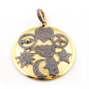 1 Pc Pave Diamond Bakelte Lucky Pendant Over 925 Sterling Silver & Vermeil - Enamel Round Pendant 44mmx41mm PD729