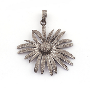 1 Pc Pave Diamond Designer Flower Pendant 925 Sterling Silver - Necklace Pendant 49mmx46mm PD095