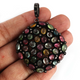 14g 1 Pc Pave Diamond Genuine Multi Tourmaline Pendant - 925 Sterling Silver - Gemstone Necklace Pendant 44mmx40mm PD1303