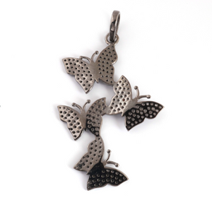 1 Pc Pave Diamond Butterfly Designer Pendant -925 Sterling Silver -Necklace Pendant 55mmx35mm PD1270