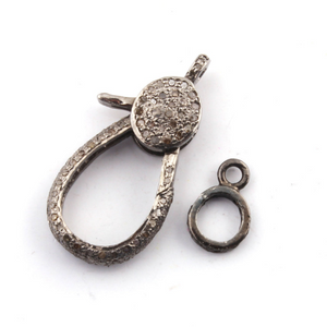 1 PC Pave Diamond Lobster Clasp Antique Finish Oxidized Sterling Silver- 30mmx14mm Lb078