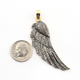 1 Pc Pave Diamond Feather 925 Sterling Vermeil - Wing Charm Pendant 51mmx16mm PD846