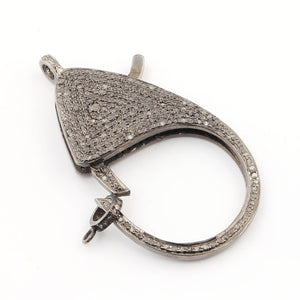 1 Pc Pave Diamond Large Lobster Clasp Antique Finish Over Sterling Silver - Diamond On Both Sides 55x28mm LB049