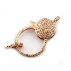 1 Pc Pave Diamond Lobster Antique Finish Rose Gold Vermeil - Double Sided Diamonds 35mmx20mm LBR016